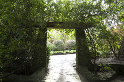 Garden stone gate Stock Photos
