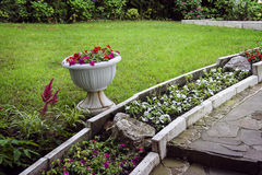 Garden with stone landscaping Royalty Free Stock Image