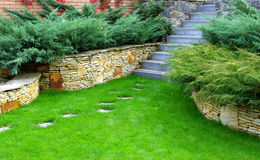 Garden stone path Royalty Free Stock Images