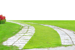 Garden stone path with grass growing up between the stones, Royalty Free Stock Photography