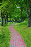 Garden stone path in park stock photography