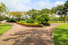 Garden stone path in park Stock Photos