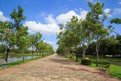 Garden stone path in park Stock Photos