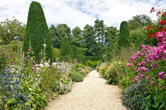 Garden stone pathway, summer flowers in bloom, conifers, shrubs, tall trees. Stone pathway leading to a white bench, with cottage colourful flowers in bloom on Stock Images