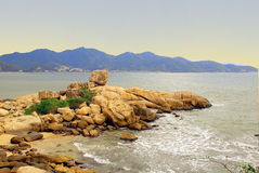Garden stones in Nha Trang Vietnam. Garden of stones on the seashore in Nha Trang Vietnam Stock Photos