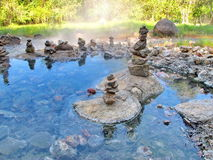 Garden of stones pebble. Hot water Royalty Free Stock Photo