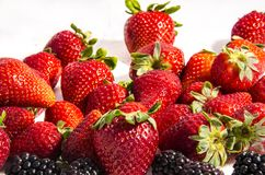Lot`s of strawberry`s with some blackberry`s. The garden strawberry or simply strawberry; Fragaria × ananassa is a widely grown hybrid species of the genus Stock Photography