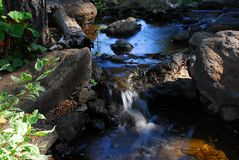 Garden Stream Three. Lovely garden stream with waterfall Royalty Free Stock Image
