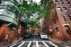 Garden Street, in Beacon Hill, Boston, Massachusetts. stock photography