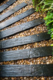 Garden structure made out of reclaimed railway sleepers Stock Photos