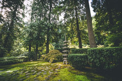 Garden structure and vegitation at a Japanese Garden. A traditional Japanese structure stands in lush, green forest in beautiful Japanese Garden setting Royalty Free Stock Photos