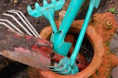 Garden stuff. Stuff for working in the garden Stock Image