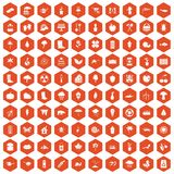 100 garden stuff icons hexagon orange Stock Photo