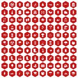 100 garden stuff icons hexagon red. 100 garden stuff icons set in red hexagon isolated vector illustration Stock Image