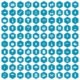 100 garden stuff icons sapphirine violet. 100 garden stuff icons set in sapphirine hexagon isolated vector illustration stock illustration