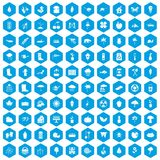 100 garden stuff icons set blue. 100 garden stuff icons set in blue hexagon isolated vector illustration royalty free illustration