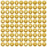 100 garden stuff icons set gold. 100 garden stuff icons set in gold circle isolated on white vectr illustration Royalty Free Illustration