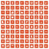 100 garden stuff icons set grunge orange. 100 garden stuff icons set in grunge style orange color isolated on white background vector illustration vector illustration