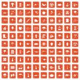 100 garden stuff icons set grunge orange. 100 garden stuff icons set in grunge style orange color isolated on white background vector illustration Stock Photo