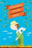 Garden stuff sale. Garden tools sale with gerdener Stock Photography