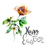 Garden Summer flowers with title Happy Easter. Watercolor illustration Royalty Free Stock Images