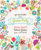 Garden or summer party invitation template poster. Garden or summer party invitation template or poster. Nature flower set design vector illustration plant vector illustration