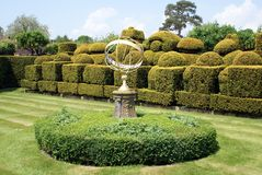 topiary garden with a sundial Stock Photography