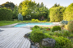 Garden and swimming pool in backyard. Backyard rock garden with outdoor inground residential swimming pool, curved wooden deck and stone patio Royalty Free Stock Photography