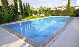 Garden swimming pool expensive real estate Stock Image