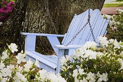 Relaxing wooden blue swing with azaleas Royalty Free Stock Images