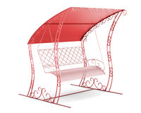 Garden swing with canopy isolated on white background. 3d illust Royalty Free Stock Photos