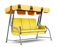 Garden swing with canopy  on white background. 3d render Stock Photography