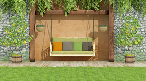 Garden with swing Royalty Free Stock Photo