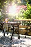 Garden table and bench Stock Image