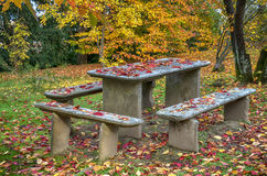 Garden table with benches in Autumn Stock Images
