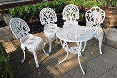 Garden table and chairs Royalty Free Stock Images