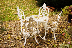 Garden table and chairs. A picture of a garden table and chairs, made from metal and painted in white. Fallen leaves are scattered on the ground Royalty Free Stock Photography