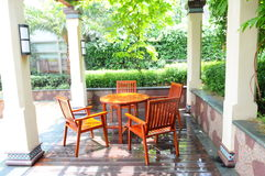 The garden table and chairs Royalty Free Stock Photo