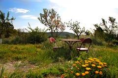Garden table set royalty free stock photos