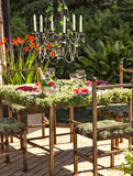 Garden table setting Royalty Free Stock Images
