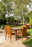 Garden and tables in Cotswold district of England Royalty Free Stock Photos