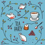 Garden Tea Party with Birds Twigs and Berries Royalty Free Stock Image