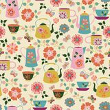 Garden Tea Party Seamless Pattern vector illustration