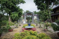 Garden of temple in Vietnam stock photo