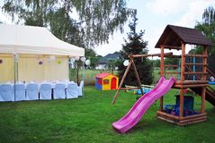 Garden tent ready to party Royalty Free Stock Image
