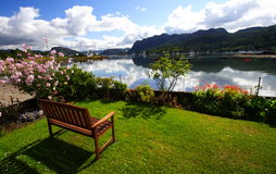 Garden terace. In scotland (plockton) with a view on the loch carron royalty free stock images