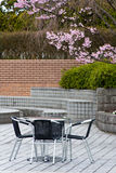 Garden terrace. Romantic garden terrace with chairs and tables. Place for viewing cherry bloom Stock Images