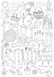 Garden themed doodle set. Various equipment and facilities for g Royalty Free Stock Photography