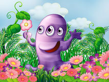 A garden with a three-eyed monster Royalty Free Stock Photo