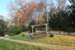 Garden in Thun. Autumn landscape of a garden in Thun, Switzerland Stock Images